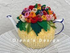 Crochet Tea Cozy Tea Cover Tea Warmer Crochet Multicolor Tulips Yellow  Base