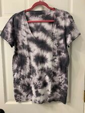 Victoria's Secret Pink Tie Dye V-Neck Short Sleeve Basic Tee Size L Grey NWOT