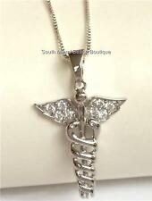 Sterling Silver Caduceus Necklace 925 RN MD DO ARNP LPN CNA Nurse Doctor Gift