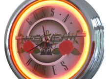 N-0251 Guns and Roses - Deko Neon Uhr Clock Wanduhr Neonuhr Neonclock Werkstatt