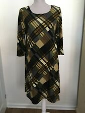 NEW Lbisse USA Ladies Beige Black Check Swing Dress Tunic XL UK 16 RRP £40