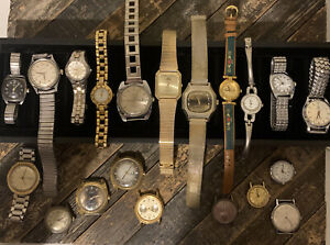 Lot (20) Vintage Mens Mechanical Watches for Parts Repair Timex Bulova Lorus