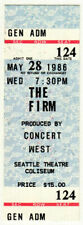 The Firm *Rare* 1986 Seattle Concert Unused Ticket Jimmy Page led zeppelin vtg