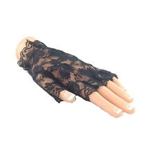 BLACK OR WHITE LACE GLOVES HALLOWEEN FINGERLESS 80S MADONNA GOTH SHORT LADIES