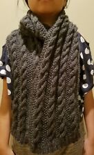 hand-knitted mohair wool long scarf(charcoal)