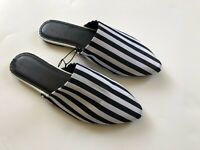BRAND NEW Urban Outfitters Black White Striped Satin Mules Women's Size 7