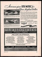 1936 AERONCA C-3 & Low Wing Aircraft Plane Airplane Vintage Aviation AD
