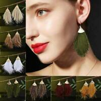 Women Bohemian Chunky Long Tassel Earrings Boho Hook Drop Dangle Fringe Jewelry