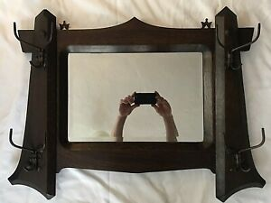 Antique Arts and Crafts Mission Oak Hall Mirror w/ japanned finish Hooks 1910-20