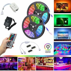 5M 10M 15M 2835 RGB LED Strip Lights Colour Changing With IR Remote Power 12V