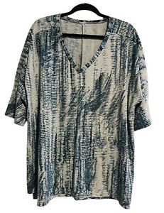Ladies Size 20 Steel Blue/Grey, 3/4 Sleeve Casual Tunic T-Shirt Top (VGC)