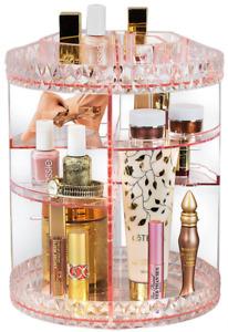 Rotating Organizer Cosmetic Makeup Case 360° Adjustable Carousel Storage Pink