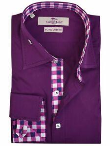 Men's Purple Shirt Long Sleeve Cotton Check Contrast Trim Size: M Claudio Lugli