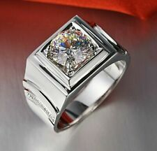 2.10ct Round Cut Solitaire VVS1 Diamond 925 Sterling Silver Engagement Men Ring