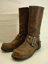 mens 10 M Vtg john fluevog studded harness boots brown leather motorcycle tall