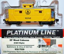 Baltimore&Ohio 90743 25' Wood Caboose Walthers Platinum 932-7530 HO Scale S25.15