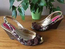 Poetic Licence brown satin floral peep toe wedge sling back shoes UK 6 EU 39