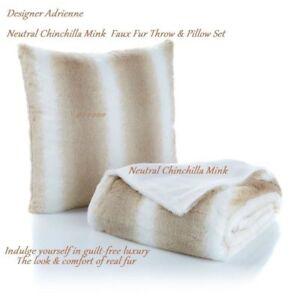 Designer Adrienne Neutral Chinchilla Mink  Faux Fur  luxury Throw & Pillow