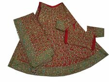 5.7KGS VINTAGE INDIAN WEDDING WOMEN GEORGETTE RED HAND BEADED LEHENGA CHOLI,LP41