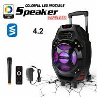 """18"""" Portable Rolling Party Dj Karaoke Wireless Speaker /w Mic Remote"""