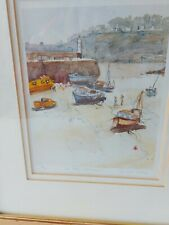 St Ives Harbour Cornwall art print from Watercolour painting by Janet Judge