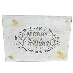 White Decorative Plaque with 'Have A Merry Christmas & Happy New Year' Design