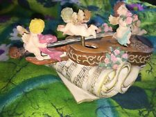 (5) Collectable Figurines: Unique Violin Music Box, Bears & Hobo Fisherman, Etc