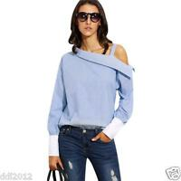 Womens Tops Striped Fold Over Asymmetric Shoulder Long Sleeve Shirt Cuff Blouse