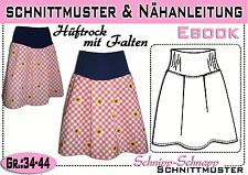 pdf.Schnittmuster und Nähanleitung für einen  Hüftrock mit Falten Gr.:34-44
