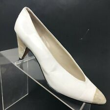 Sesto Meucci White Leather Pump Vtg Pinup Pearlized Heel Cap Toe Womesn Size 9 M