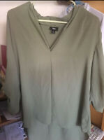 Mossimo Women's Olive Green Polyester Top Size L