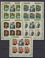 1981 Royal Wedding Charles & Diana MNH Stamp Sheetlets Penrhyn Surch