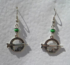 SWEET TARA CELTIC DROP EARRINGS TINY GREEN WOOD BEAD DARK SILVER PLATED Hook