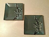 """Pier 1 Tranquil Stoneware Cherry Blossoms Square Dinner Plates 10 5/8"""" Set of 2"""