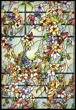 24 x 36 in Floral Window Film Stained Glass Door Decorative Privacy Sticker Tint
