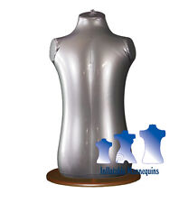 Inflatable Toddler Torso, Silver And Wood Table Top Stand