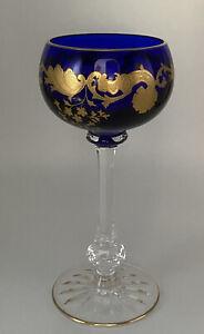 "MINT ST. LOUIS CRYSTAL FRENCH MASSENET 6-3/4"" COBALT BLUE HOCK WINE GOBLET GOLD"