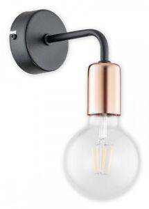 Black Wall Light - Matt Metal Lampshade Copper Fitting - Industrial Bedroom PIXI