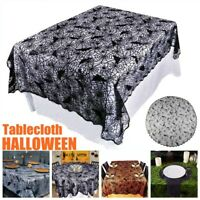 Halloween Spooky Tablecloth Spider Web Black Lace Bat Table Cover Party Decor