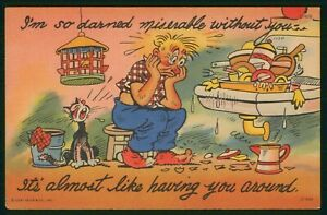 Mayfairstamps Comic Man With Dishes Messy House Postcard wwo_64579