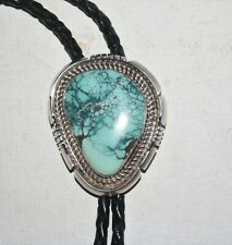 Navajo Large Dry Creek Turquoise 925 Sterling Silver Bolo Tie Fluted Bead Tips