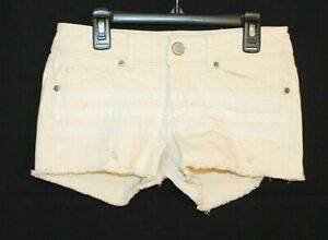 JUNIOR Woman IVORY WITH WHITE LACE DISTRESSED JEAN MINI CUT OFF SHORTS SIZE 3