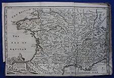 """ORIGINALE ANTICO MAPPA ANTICA FRANCIA """"Gallia NARBONENSIS'S, Emmanuel Bowen, 1747"""
