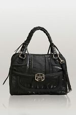 Guess Edna Satchel Handbag Bag Purse Black New 4-G Logo Vintage Ostritch New