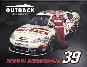 2012 Ryan Newman Outback Steakhouse Chevy Impala NASCAR NSCS postcard
