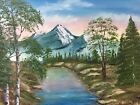 """Bob Ross Style Original Oil Painting On Canvas """"Blue Water 16 X 20 By Diana"""