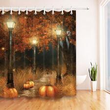 """Halloween Pumpkin Park Bath Shower Curtain Set Waterproof Fabric & Hooks 72x72"""""""