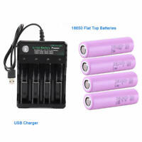 4X18650 3.7V 2600mah Rechargeable Li-ion Flat Top Battery+Fast Charger For toys