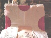 VINTAGE LOT OF 4 VARIETY LINENS, HAND TOWEL VICTORIAN LADIES /PARASOLS POPPIES