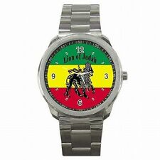 Rasta Jamaica Lion Jamaican Flag Reggae Colors Stainless Steel Watch